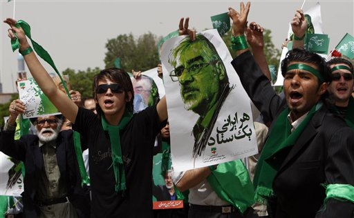 Iranians in support of Mir-Hossein Mousavi.  The text reads Every Iranian is a single campaign headquarters, alluding to the Mousavi camps lack of access to media since the June 12th election.