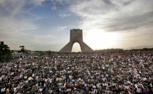 Tehran, Iran: Hundreds of thousands of Iranians protest election result at iconic Freedom Monument [AP Photo/Ben Curtis]